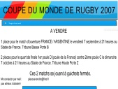 Places pour la coupe du monde de rugby 2007