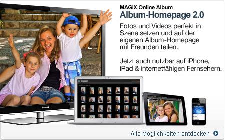 MAGIX Online Album, Webhosting gratis, Domains, kostenlose Homepage erstellen